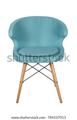 Chair isolated. Modern chair, light blue. Wooden furniture. #784107013