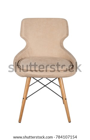 Chair isolated. Modern chair, beige. Wooden furniture. #784107154