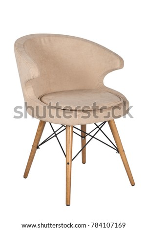 Chair isolated. Modern chair, beige. Wooden furniture. #784107169