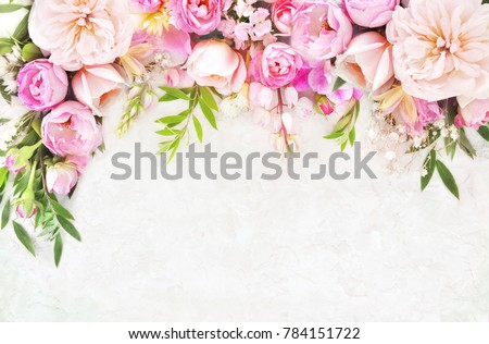 Summer blossoming delicate roses on blooming flowers festive background, pastel and soft bouquet floral card