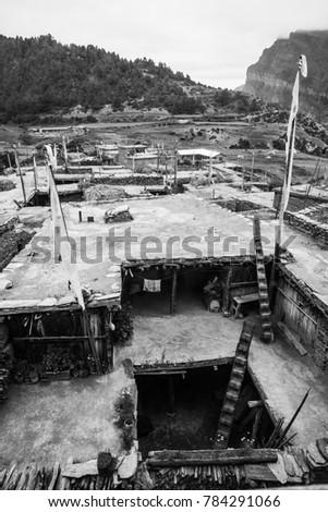 Nepal October 3 2014. Traditional Nepali house, the Annapurna area, Nepal #784291066