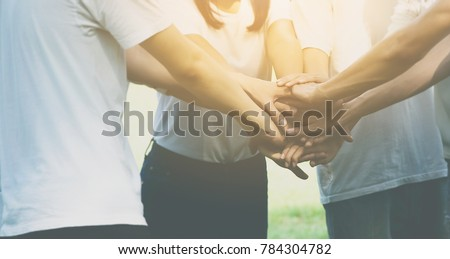 Team teamwork business join hand together concept, Power of male and female volunteer charity work, Stack of people hand #784304782
