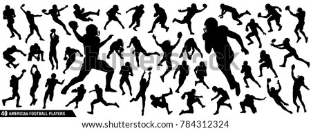 American Football Players Silhouettes , vector pack, various pose set
