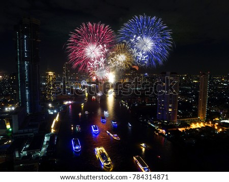 countdown happy new year 2018 festival with firework on the river bangkok thailand #784314871