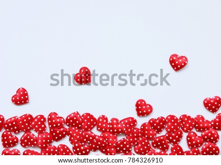 minimal style Small Red Heart on White background,Top view,flat lay,Valentine's day romantic #784326910
