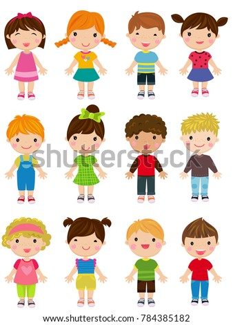 Group of cute children collection
