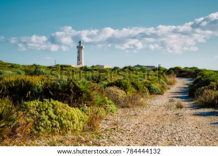 Abandoned lighthouse on cliffs outside Syracuse, Sicily Italy #784444132