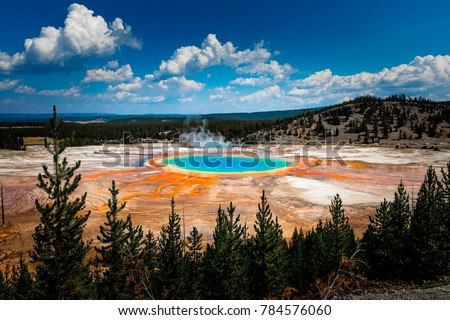 Grand Prismatic Spring view at Yellowstone National Park Royalty-Free Stock Photo #784576060