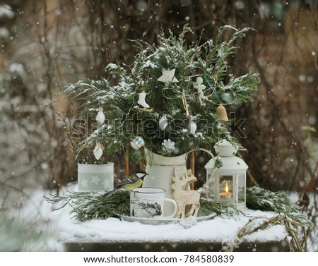 A pitcher of white metal with fir branches decorated with Christmas toys white and chickadee in the snow garden #784580839