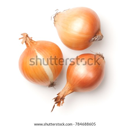Onions isolated on white background. Top view Royalty-Free Stock Photo #784688605