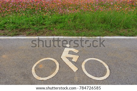 The Bicycle or Bike Sign on The Road with Field Inside. Copy Space for Text. #784726585