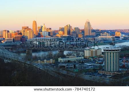 A View of the Cincinnati skyline at dusk
