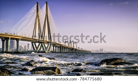 Mumbai Sea Link as from viewed from Bandstand #784775680