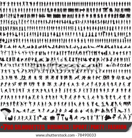 Huge set of 700 very detailed people silhouettes