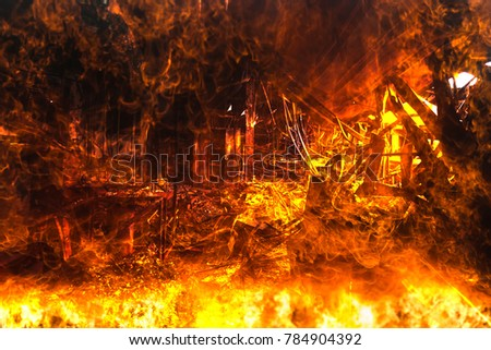 Double exposure Burned interiors of office decoration after fire in the factory / Damage in Factory After Fire Inferno #784904392