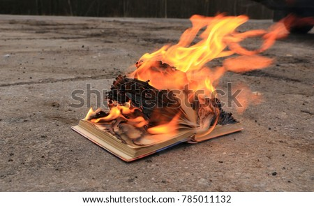 book with burning pages on a concrete surface #785011132