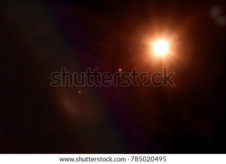 Lens Flare Sun Light Effect on Black #785020495