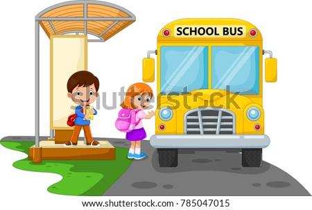 Back to school. Vector illustration of cartoon kids going to school with school bus