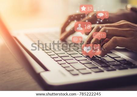 Businesswoman laptop using ,Social, media, Marketing concept. Royalty-Free Stock Photo #785222245
