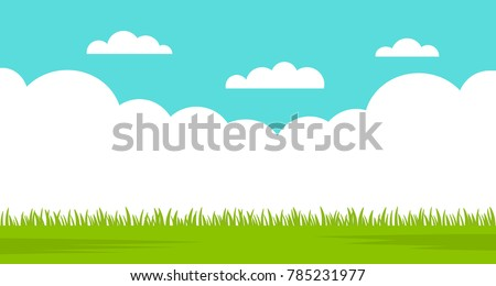 Beautiful summer landscape - blue sky and green grass. vector illustration isolated illustration Royalty-Free Stock Photo #785231977