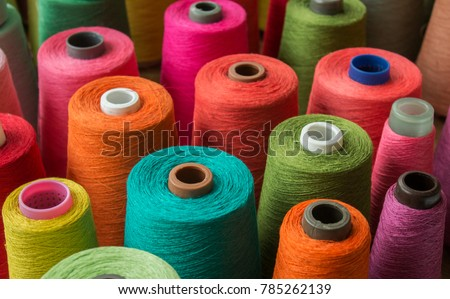 Colorful yarn on spool, yarn on tube, cotton, wool, linen thread  #785262139