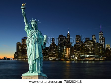 Collage with Manhattah skyline and Statue of Liberty. #785283418