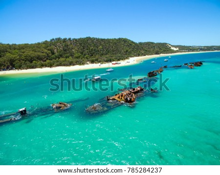 An aerial view of the Shipwrecks near Tangalooma Island Resort on Moreton Island, Queensland, Australia #785284237