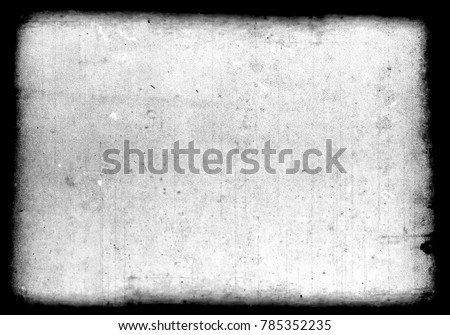 Abstract dirty or aging film frame. Dust particle and dust grain texture or dirt overlay use effect for film frame with space for your text or image and vintage grunge style. #785352235