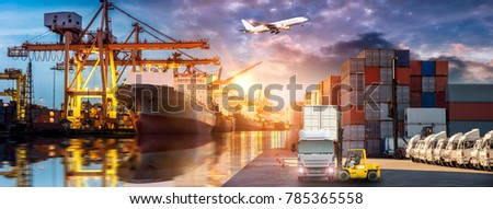 Logistics and transportation of Container Cargo ship and Cargo plane with working crane bridge in shipyard at sunrise, logistic import export and transport industry background #785365558