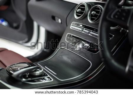 Car interior.Control panel on the car.selective focus. #785394043