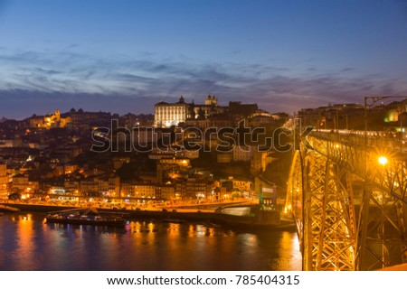 PORTUGAL, PORTO - May 20: Overview of Old Town of Porto, Portugal at dusk on May 20, 2016 #785404315