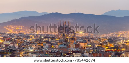 Aerial Panorama view of Barcelona city skyline and Sagrada familia at dusk time,Spain #785442694