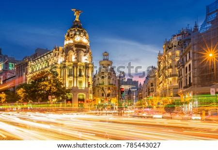 Madrid gran via at dusk time ,Spain #785443027
