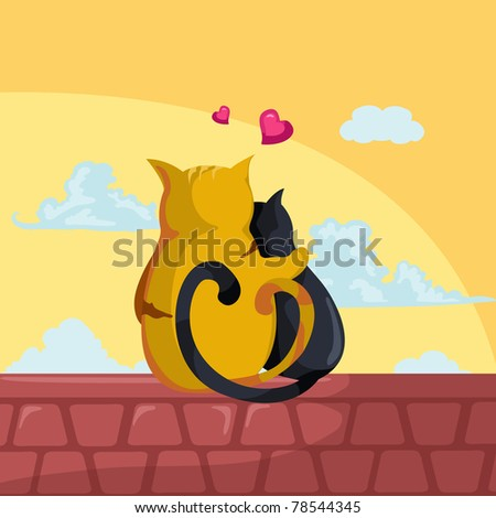 illustration of  two cats in love sitting on the roof