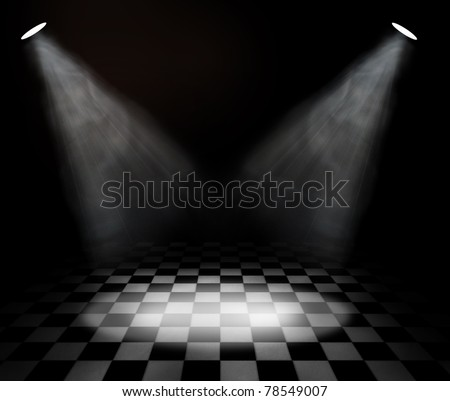 black and white check room with spotlights