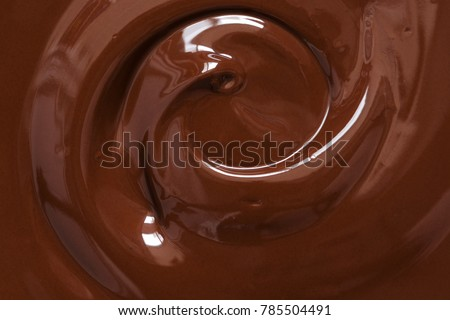 Chocolate texture. Liquid chocolate close-up.Textured dark chocolate #785504491