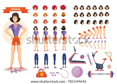 Young smiling woman athlete in sportswear vector illustration. Character creation set in flat style. Full body in different views, emotions, hairstyles, hands, fitness equipment. Build your own design #785544646