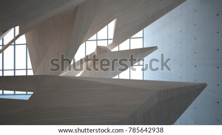 Abstract  concrete and wood interior multilevel public space with window. 3D illustration and rendering. #785642938