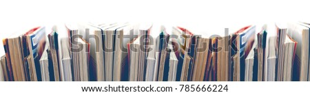 News and journal. Entertainment and leisure. Magazines and books background Royalty-Free Stock Photo #785666224
