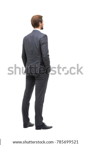 rear view . businessman looking at copy space #785699521