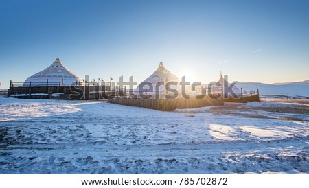 Traditional Yurts (gers) tent home of Mongolian nomads #785702872