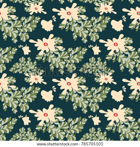 abstract flowers seamless vector pattern for your design #785705101