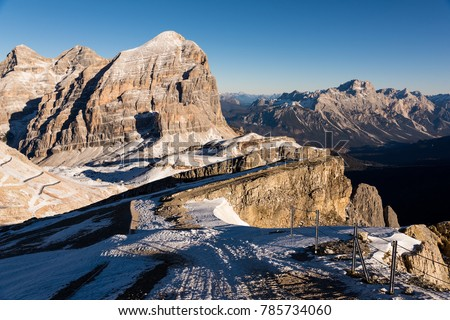 Winter landscape at the Falzarego Pass on the Dolomites in northeastern Italy #785734060