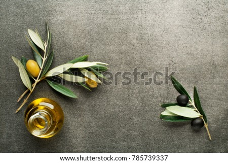 Olive oil and olive branch on gray background #785739337