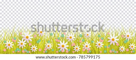 Spring grass and flowers border, Easter greeting card decoration element, flat vector illustration isolated on transparent background. Easter decoration element with spring grass and meadow flowers Royalty-Free Stock Photo #785799175