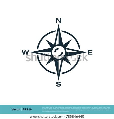 Compass Rose Icon Vector Logo Template Illustration Design. Vector EPS 10.