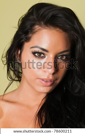 Closeup on the face of a pretty young Latina #78600211