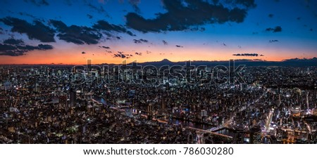 Super Wide Panorama Tokyo Cityscape at dusk with Mount Fuji silhouette #786030280