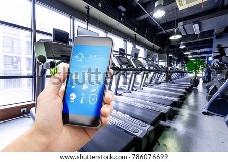 smart phone with smart home and modern gym #786076699