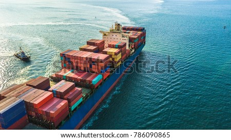 Container ship, Freight business import export logistic and transportation of International container cargo ship in the open sea, Aerial view maritime container freight shipping.  #786090865